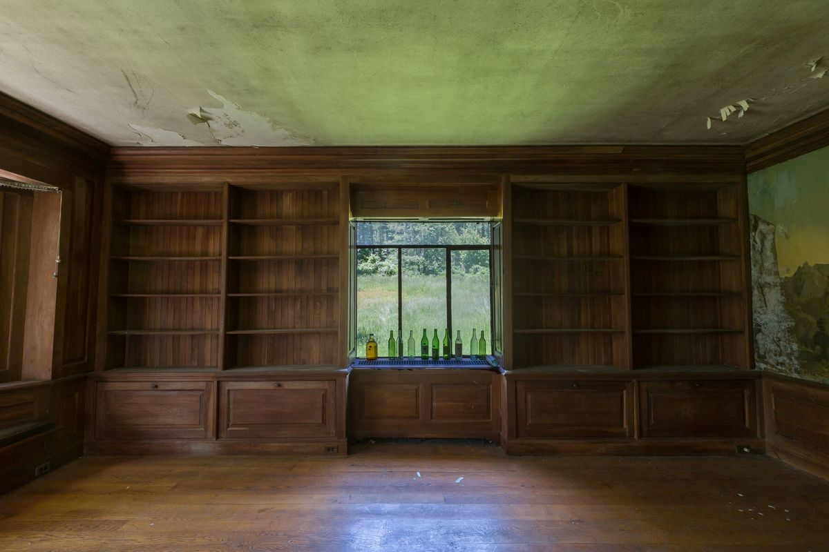 circus house bookshelves abandoned house story