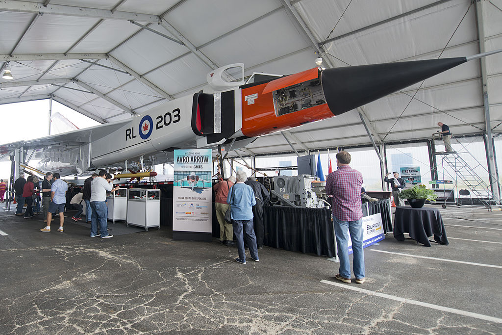 Visitors gave at the replica of Avro Arrow at the Canadian Air and Space Museum.