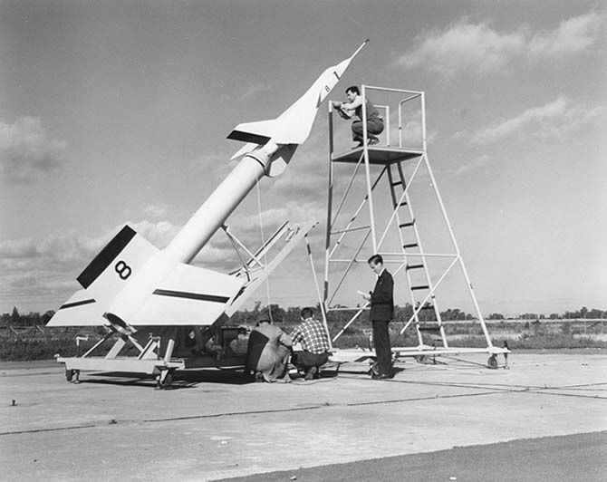 Men prepare to launch an Avro Arrow prototype offshore