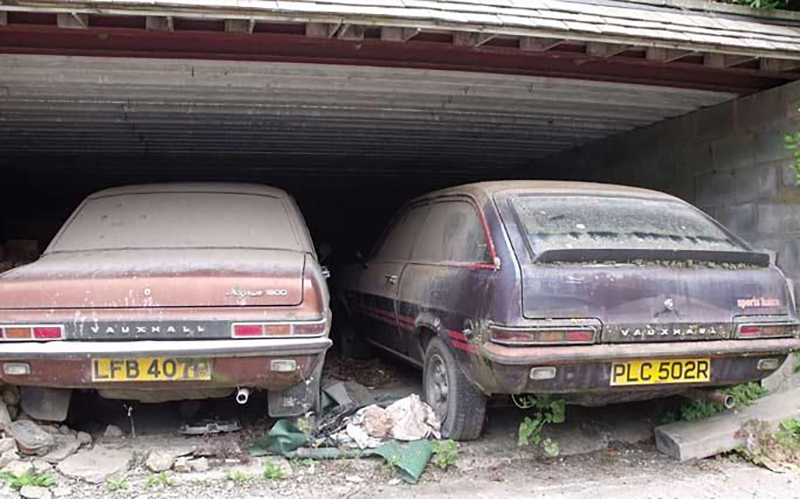 Old Vauxhalls In An Abandoned Car Port