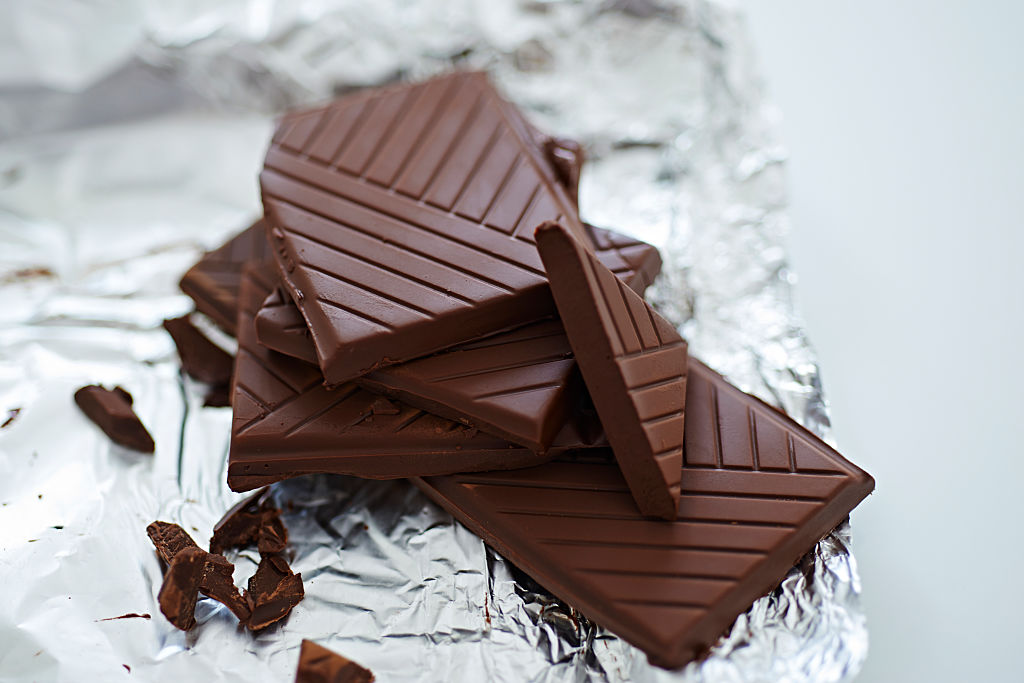dark chocolate pieces on top of a foil wrapper