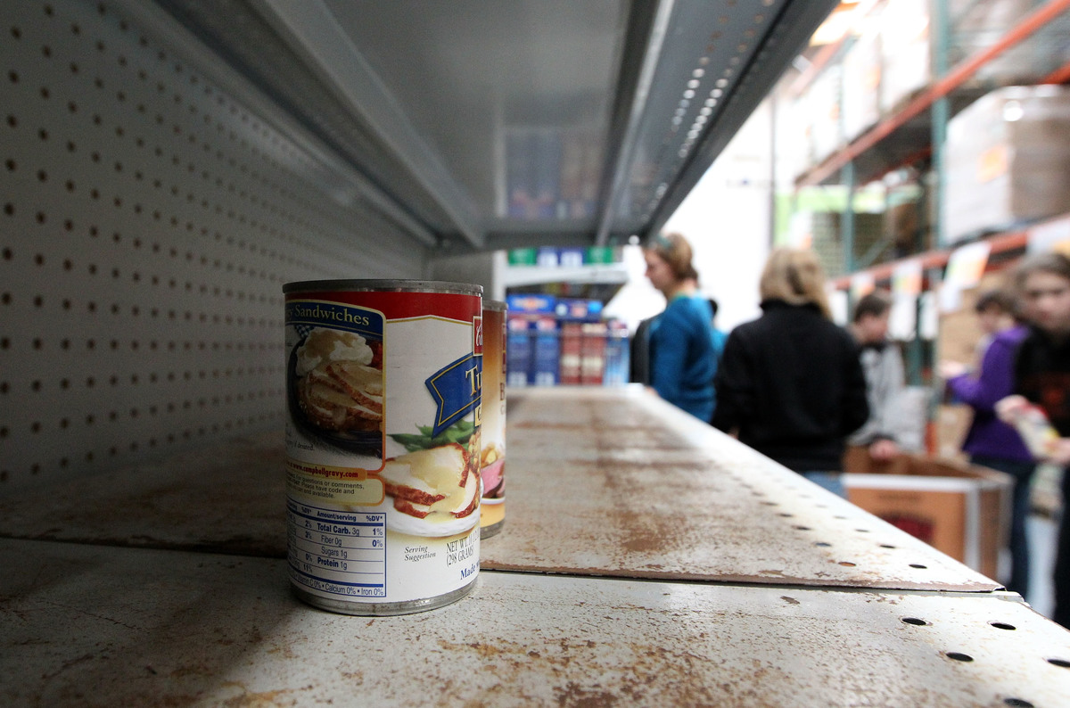 Canned food sits on the shelf at the San Francisco Food Bank.