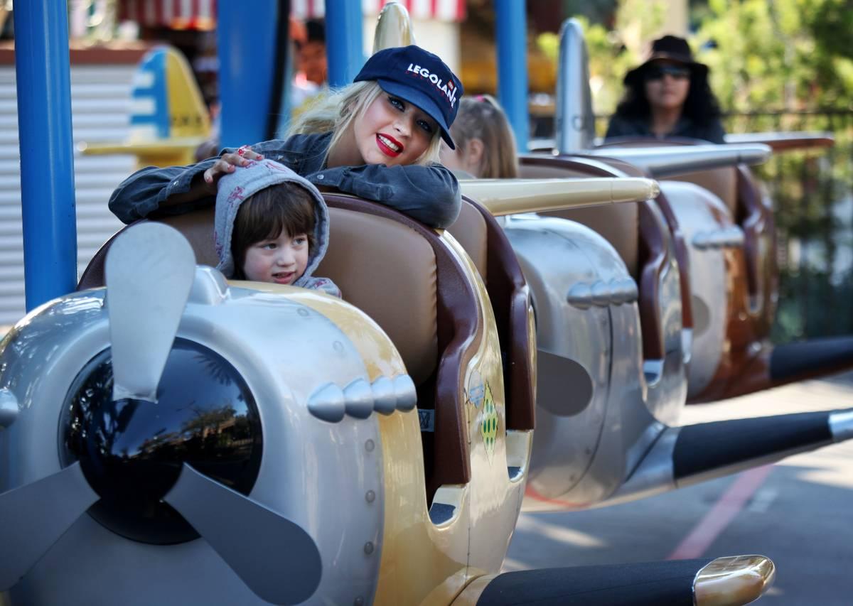 USA: Entertainment: Christina Aguilera and Son at Legoland
