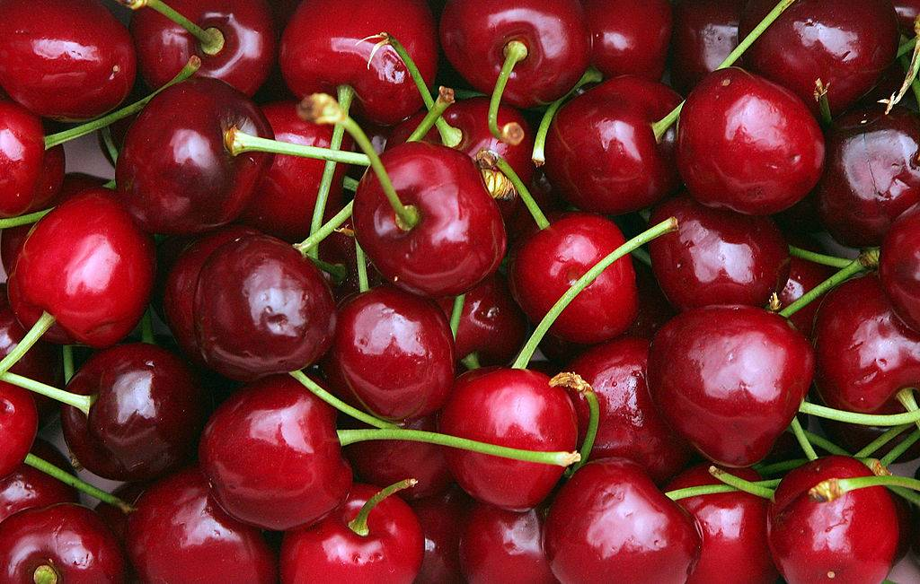 a box of red cherries
