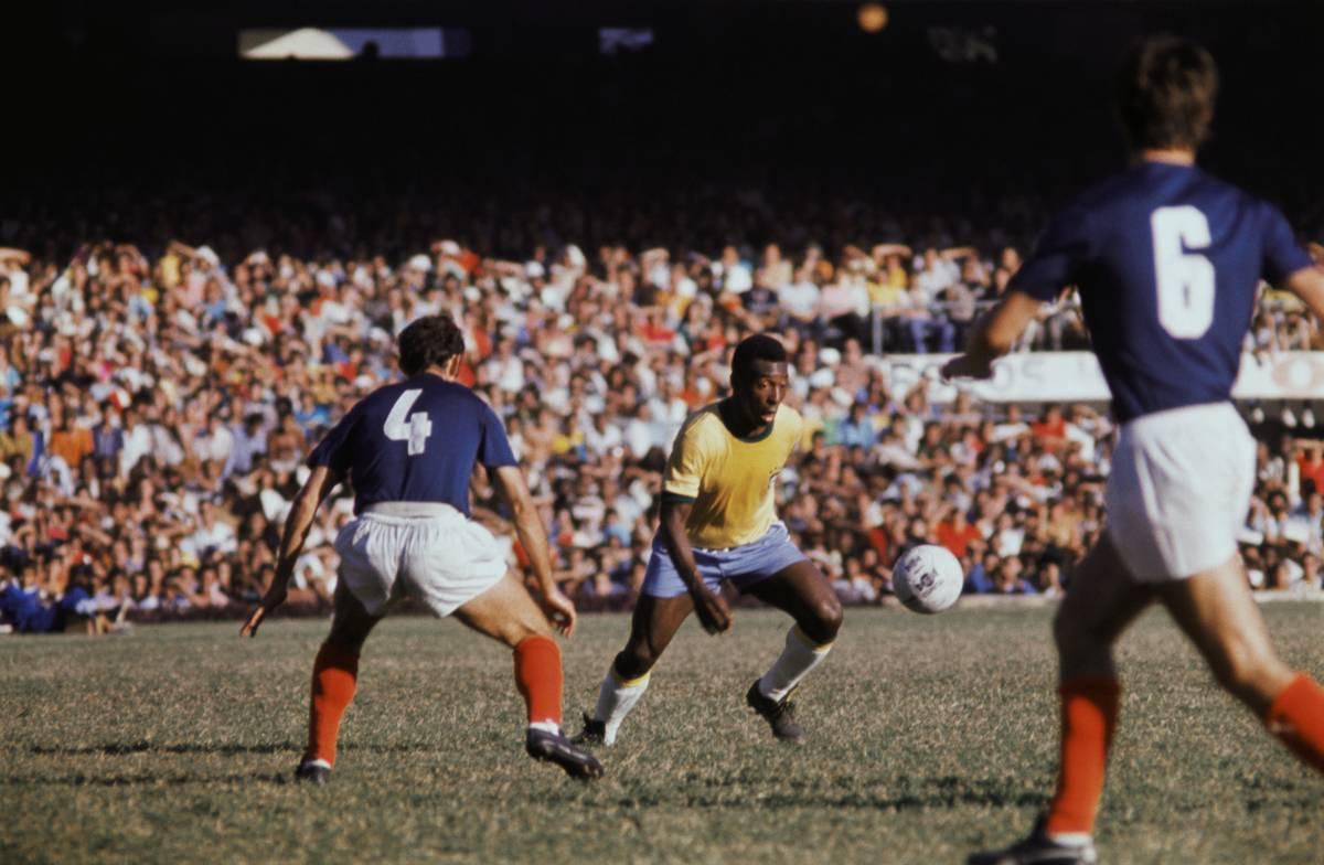 Pele Kicking a Soccer Ball
