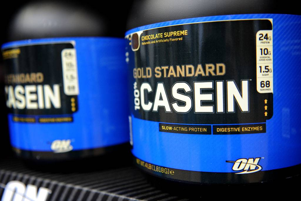 Casein Protein shakes on display