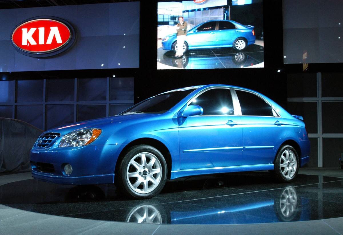 The 2004 Kia Spectra is unveiled Tuesday, January 6, 2004, a